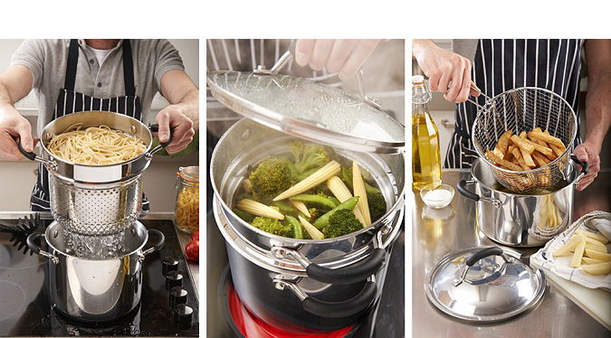 Commercial Photographer, studio photography, food photography, kitchen utensils, pans, strainer, steamer, deep fat fryer, UK